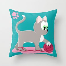 Kitten number 1 of 3 silver cats Throw Pillow
