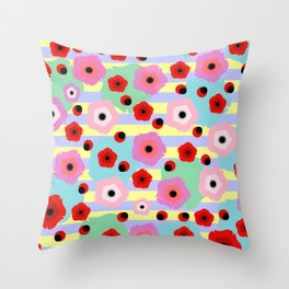 Poppies and stripes Throw Pillow
