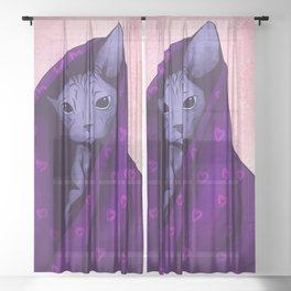 Snug Bug - Black Sphynx Cat Snugged in a Purple Heart Print Blanket Sheer Curtain