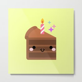 Cute cake slice with candle Metal Print