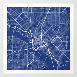 Dallas Map, USA - Blue Art Print
