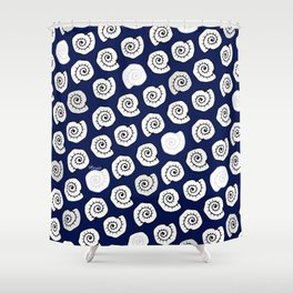 seashell - pop blue pattern Shower Curtain