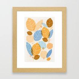 Golden Aspen / Abstract Leaf Illustration Framed Art Print