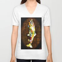 whisky V-neck T-shirts featuring FISH with a side of Bourbon Please by Saundra Myles