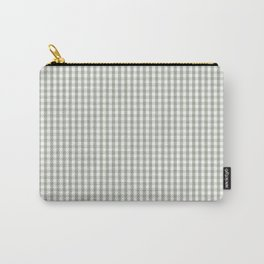 Desert Sage Grey Green and White Min Gingham Check Plaid Carry-All Pouch