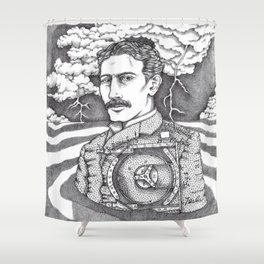 Men at Sea: Tesla and His Bladeless Turbine Shower Curtain