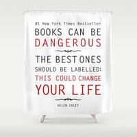 helen Shower Curtains featuring Books Can Be Dangerous - Helen Exley Book Quote Typography  by Artsunami