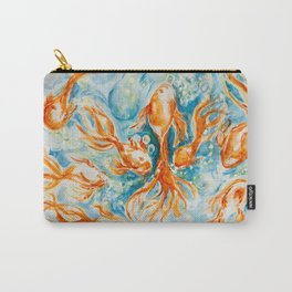 Sparkly Gold Goldfish watercolor by CheyAnne Sexton Carry-All Pouch