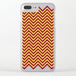 Sunnydale High Chevron (Maroon & Gold - #8A0034 x #FFDC32) Clear iPhone Case