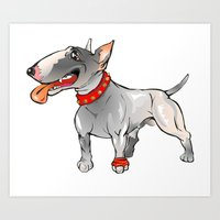bull terrier Art Prints featuring Bull Terrier by Paola Canti