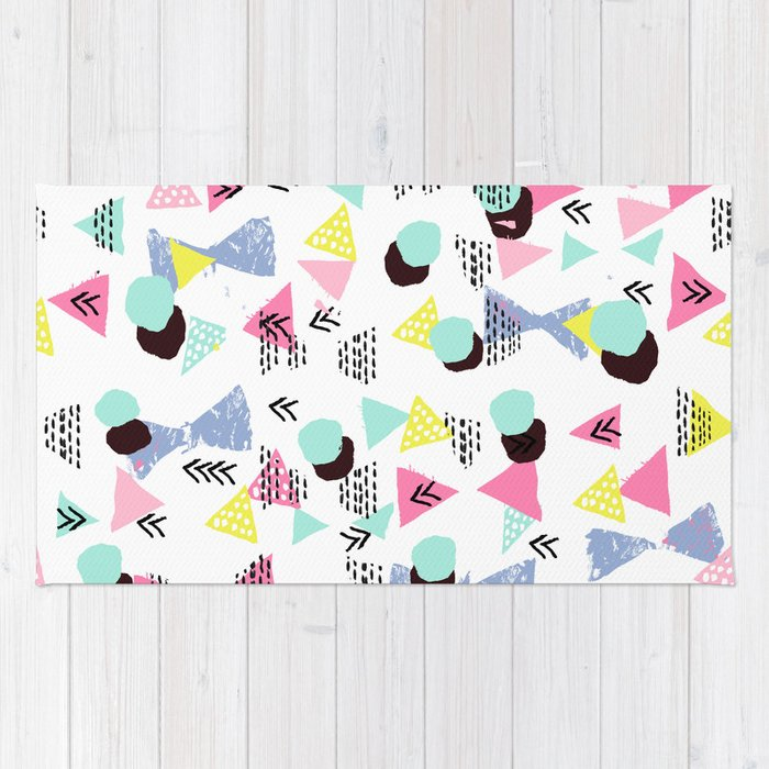 Geometric Minimal Pastel Modern Pattern Design Triangle Dots Polka Memphis Basic Nursery Decor Rug