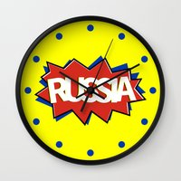 russia Wall Clocks featuring Russia by mailboxdisco