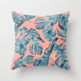 Island Life Teal on Coral Pink Throw Pillow