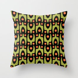 Mid Century Modern Abstract Pattern 546 Green Orange and Black Throw Pillow