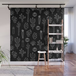 Cactus Silhouette White And Black Wall Mural