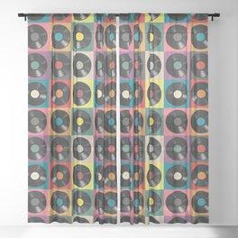 Vinyl Record Sheer Curtain