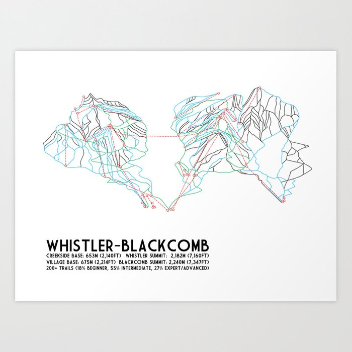 Whistler Blackcomb, BC, Canada - Minimalist Trail Map Kunstdrucke