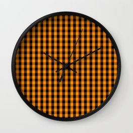 Large Pumpkin Orange and Black Gingham Check Plaid Wall Clock