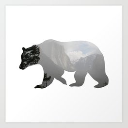 Grizzly Bear with Yosemite Photo Inlay Art Print