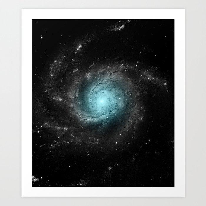 Aqua Blue Gray Pinwheel Galaxy Kunstdrucke