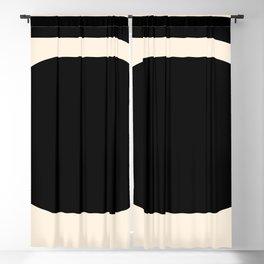 Mod 3 Minimalist Black and Almond Cream Modern Retro Abstract Blackout Curtain