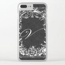 V Vintage Wild Rose Chalkboard Clear iPhone Case