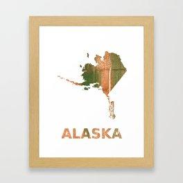 Alaska map outline Peru green streaked wash drawing illustration Framed Art Print