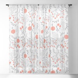 Red Berry Floral Sheer Curtain