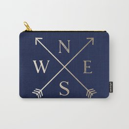 Gold on Navy Blue Compass Carry-All Pouch