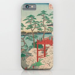 Spring Blossoms and Pond Ukiyo-e Japanese Art iPhone Case
