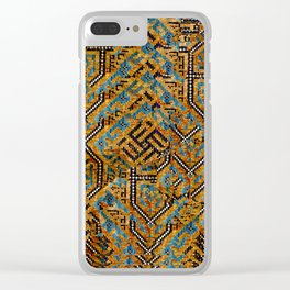 Samarkand blue and cocoa brown broken pattern Clear iPhone Case