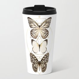 butterflies and gold geometry Travel Mug