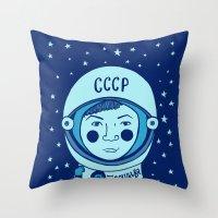 valentina Throw Pillows featuring Valentina Tereshkova by Emma Falconer