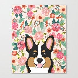 Tricolored Corgi cute corgi florals dog portrait custom dog art pet friendly dog head cell case Canvas Print