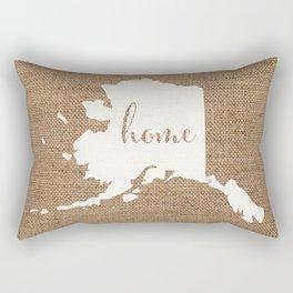 Alaska is Home - White on Burlap Rectangular Pillow