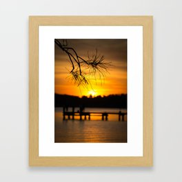 Belmont, Green Point, Australia Jetty at Sunset (Portrait) Framed Art Print