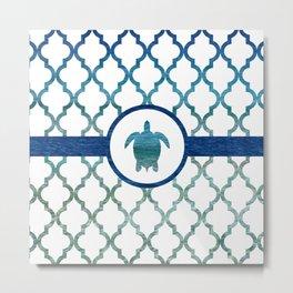Turtle: Tropical Water Moroccan Pattern Metal Print