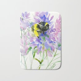 Bumblebee and Lavender Flowers, nature bee honey making decor Bath Mat