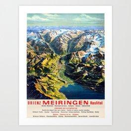 Affiche Travel Poster Brienz Meiringen Haslital Switzerland Mountains Art Print
