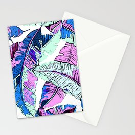 BANANA LEAF PALM PASTEL PINK AND BLUE Stationery Cards
