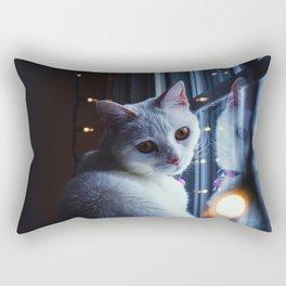 Turkish Angora white cat window garland evening New Year Christmas Rectangular Pillow