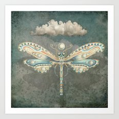 Dragonfly of the moon Art Print
