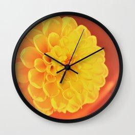 yellow dahlie Wall Clock