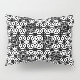 Japanese Asanoha or Star Pattern, Black and White Pillow Sham