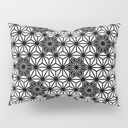 Japanese Asanoha or Star Pattern, Black and White Pillow Sham
