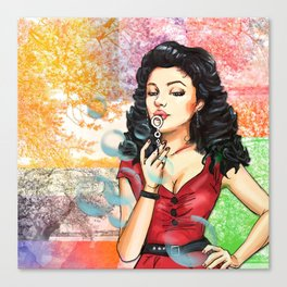 Retro Pinup Girl Blowing Bubbles Tree Collage Canvas Print