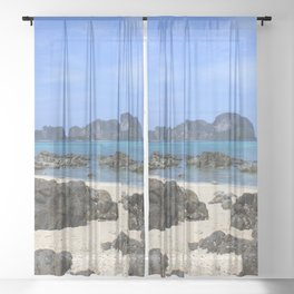 Tropical island Sheer Curtain