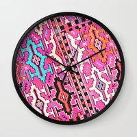 kilim Wall Clocks featuring Aztec Kilim 2 by EllaJo