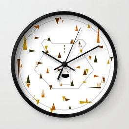 brown bear or grizz. geometric Wall Clock