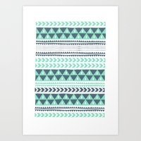 stripe Art Prints featuring Winter Stripe by Alice Rebecca Potter